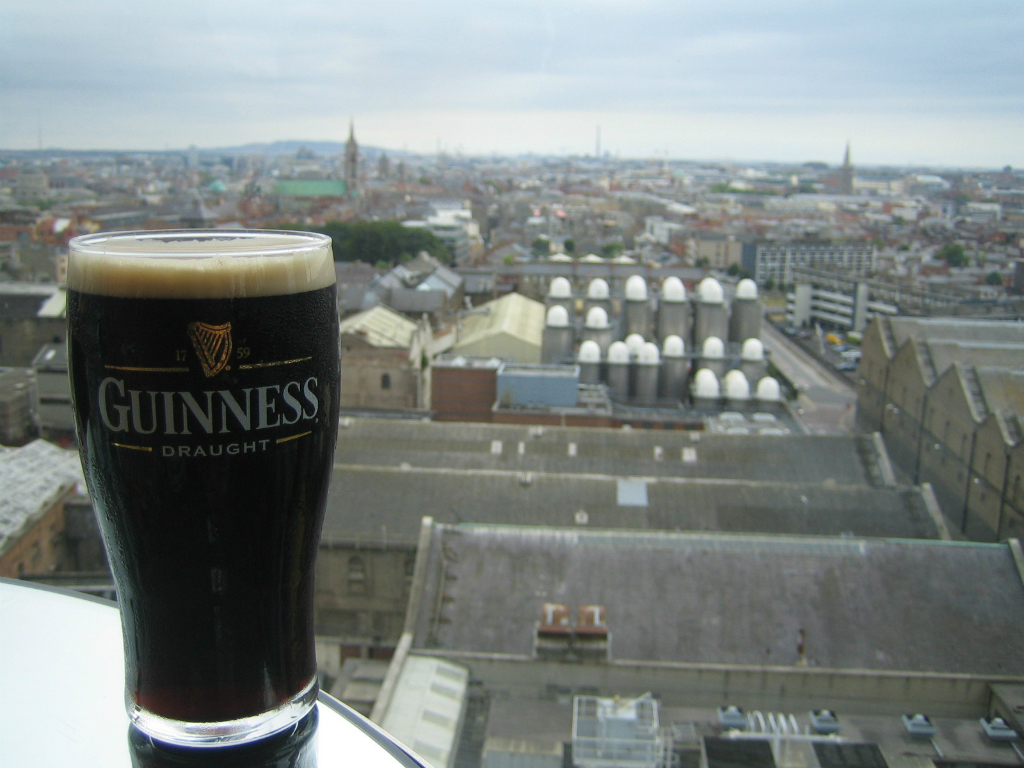 Pint of Guinness Draught Irish stout at the St. James's Gate brewery and storehouse in Dublin, Ireland