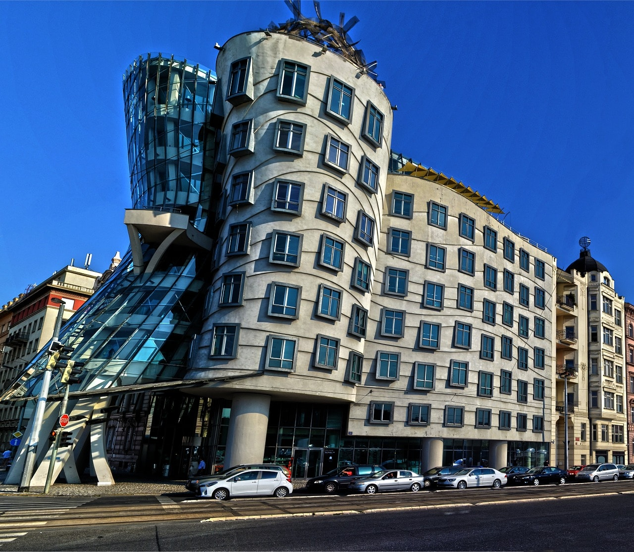 8 Outstanding Outdoor Places to Drink in Prague, Czech Republic, Czechia | Prague beer gardens and rooftop bars with great views. Dancing House, Glass Bar